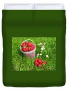 A Bucket Of Strawberries Duvet Cover