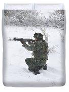 A Bulgarian Soldier Aims Down The Sight Duvet Cover