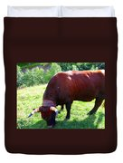 A Bull  Grazing On The Meadow Duvet Cover