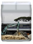 A Bulldozer Moving Dug Out Concrete And Fresh Earth Below The Concrete Duvet Cover