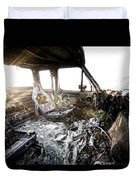 A Burned Out Truck At Sunset Duvet Cover
