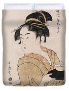 A Bust Portrait Of The Waitress Okita Of The Naniwaya Teahouse Duvet Cover