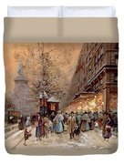 A Busy Boulevard Near The Place De La Republique Paris Duvet Cover