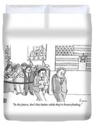 A Campaign Manager Speaks To A Bashful Politician Duvet Cover by Zachary Kanin