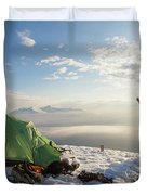 A Camper Lifts His Hand In The Air Duvet Cover