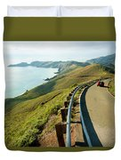 A Car Descends Conzelman Road Duvet Cover