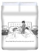 A Child Jumps On His Parents' Bed Duvet Cover by Carolita Johnson