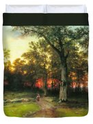 A Child Walks In A Forest Duvet Cover
