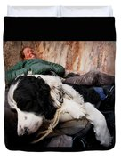 A Climber And Her Dog Lay Duvet Cover