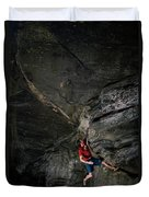 A Climber On A Rock Face Duvet Cover
