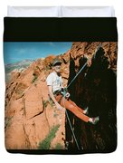 A Climber On Panty Wall In Red Rock Duvet Cover