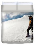 A Climber On The Glacier Of Cotopaxi Duvet Cover
