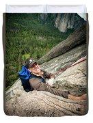 A Climber Reaches His Hand In A Crack Duvet Cover