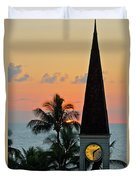 A Clock Tower At Sunset On Maui, Hawaii Duvet Cover