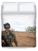 A Coalition Force Member Looks For Air Duvet Cover