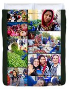 A Collage Of The Fresh Market In Kusadasi Turkey Duvet Cover