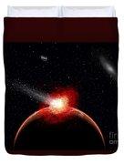 A Comet Hitting An Alien Planet Duvet Cover
