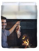 A Cook Hangs A Turkey Over Fire Pit Duvet Cover