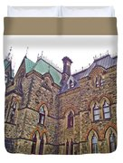 A Corner Of Parliament Building In Ottawa-on Duvet Cover