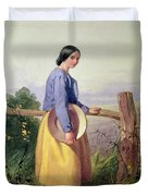 A Country Girl Standing By A Fence Duvet Cover