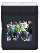 A Couple Girls Enjoying Themselves In The 2009 New York St. Patrick Day Parade Duvet Cover