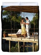 A Couple Having Drinks On A Deck Duvet Cover