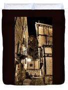 A Couple In A Little Restaurant In The Ancient City Of Albarracin Duvet Cover