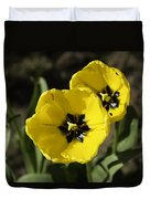 A Couple Of Bright Yellow Tulip Flowers Duvet Cover