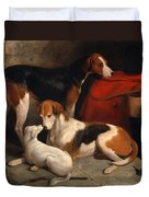 A Couple Of Foxhounds With A Terrier The Property Of Lord Henry Bentinck Duvet Cover
