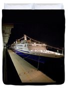A Cruise Ship At Night Docked Duvet Cover