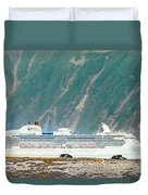 A Cruise Ship Passes By A Wolf Roaming Duvet Cover
