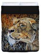 A Curious Lioness Duvet Cover