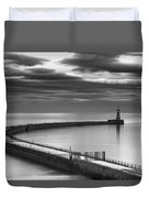 A Curving Pier With A Lighthouse At The Duvet Cover