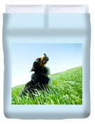 A Cute Dog On The Field Duvet Cover