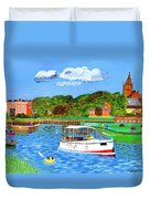 A Day On The River In Exeter Duvet Cover