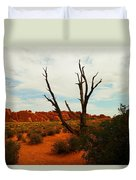 A Dead Tree Foreground A Maze Of Rocks Duvet Cover