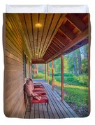 A Deck By The Methow River At Cottonwood Cottage Duvet Cover