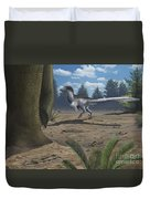 A Deinonychosaur Leaves Tracks Duvet Cover by Emily Willoughby