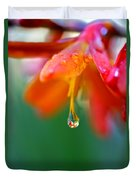 A Delicate Touch - Water Droplet - Orange Flower Duvet Cover