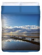 A Dock Leading Out Into The Lake At Duvet Cover