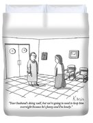 A Doctor Is Seen Talking To A Woman Duvet Cover by Zachary Kanin