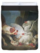 A Dog Attacking Geese, 1769 Oil On Canvas Duvet Cover