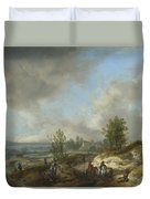 A Dune Landscape With A River And Many Figures Duvet Cover