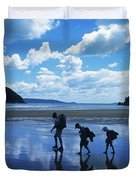 A Family Of Hikers Walks Duvet Cover