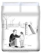 A Father Encourages His Son At The Playground Duvet Cover by Emily Flake