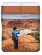 A Female Hiker Looking Duvet Cover