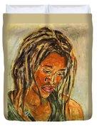 A Female Sax Player Duvet Cover