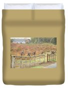A Fence Line Of Fall Turkeys Duvet Cover
