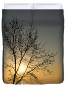 A Filigree Of Branches Framing The Sunrise Duvet Cover
