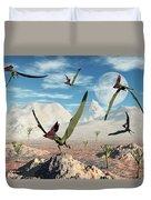 A Flock Of Thalassodromeus Pterosaurs Duvet Cover
